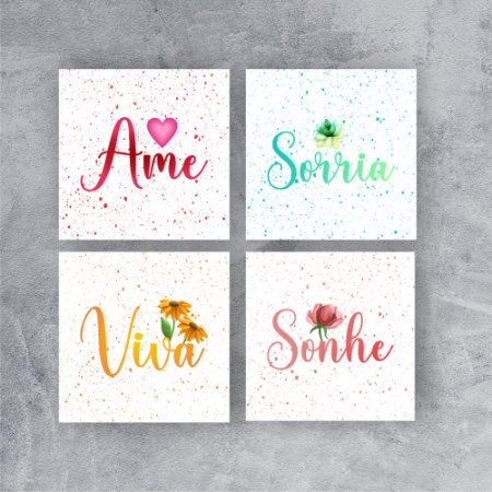 Kit 4 Quadros decorativos| Sorria | Viva | Sonhe | Ame | 20x20 cada
