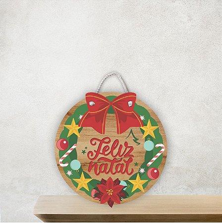 Placa Decorativa Redonda |Feliz Natal
