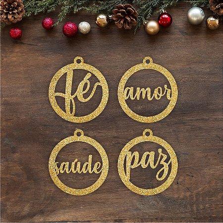 TAG | 4 Bolinhas de Natal em MDF | NATAL