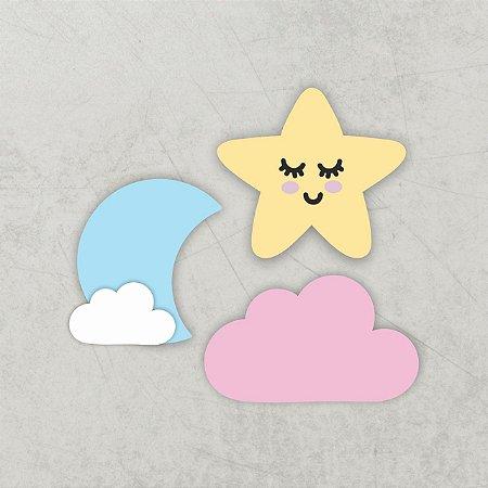 KIT Decoração Infantil   Nuvem   Lua   Estrela