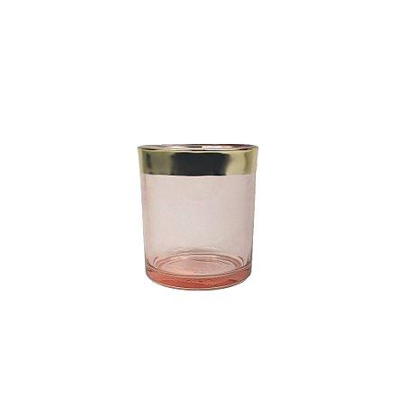 Candelabro de Vidro - Rosa/Pequeno