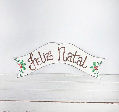 Placa de Madeira Faixa Provençal Feita a Mão - Branco/Feliz Natal