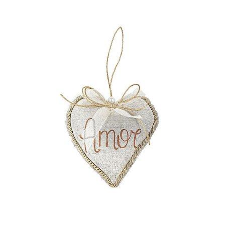 Coração Decorativo - Linho/Amor