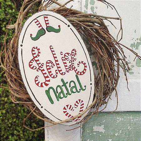 Placa de Madeira Bege Faixa Provençal Feita a Mão - Feliz Natal - Coleção Candy