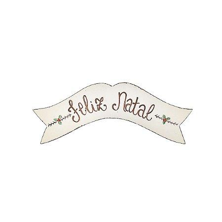 Placa de Madeira Branco Faixa Provençal Feita a Mão - Feliz Natal - Coleção Rústica