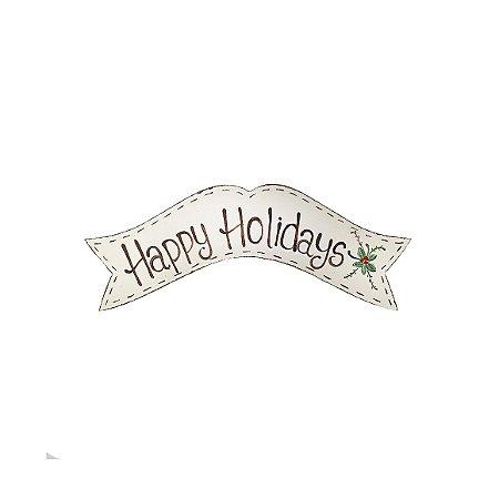 Placa de Madeira Faixa Provençal Feita a Mão Bege - Happy Holidays - Coleção Rústica