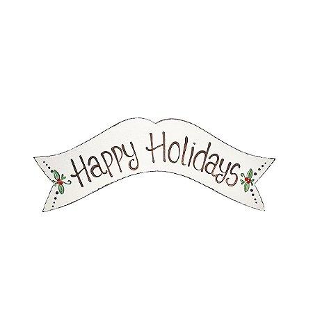 Placa de Madeira Faixa Provençal Feita a Mão Branca - Happy Holidays - Coleção Rústica