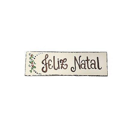 Placa Retangular Bege de Madeira Provençal Feita a Mão - Feliz Natal - Coleção Rústica