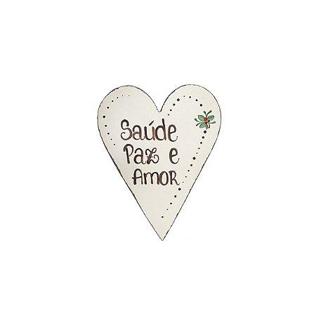 Placa de Madeira Coração Provençal Bege - Saúde, Paz e Amor - Coleção Rústica
