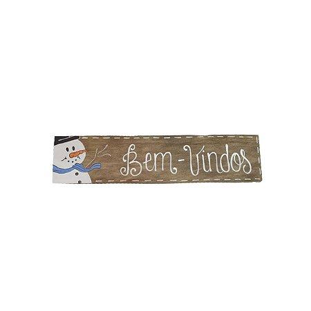 Placa Retangular Branca de Madeira Provençal Feita a Mão - Bem Vindos - Coleção Snow