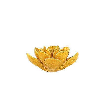 Flor de Cerâmica Decorativa - Amarela