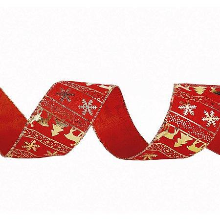 Rolo de Fita Aramada - Vermelho/Estampado Dourado