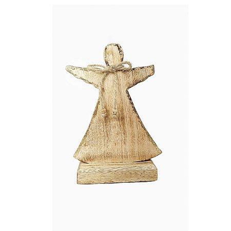 Anjo de Madeira Decorativo -  Dourado/Grande