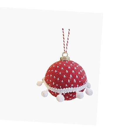Bola Decorativa Natalina - Crochê/ Vermelho e Branco