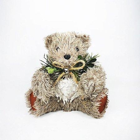Urso Decorativo Natalino - Maior Marrom/Perolado