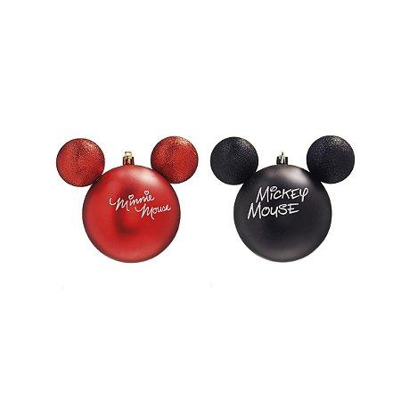 Kit Bolas Natalinas Silhueta Mickey e Minnie -  Assinatura c/2 - 10cm
