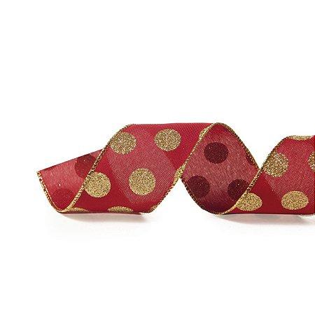 Rolo de Fita Aramada - Vermelho c/ Poá Dourado - 6,3cmx9m