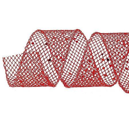 Rolo de Fita Aramada - Telada- Vermelho c/ Glitter - 10cmx9m