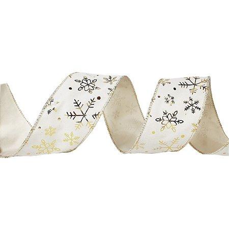 Rolo de Fita Aramada - Off White c/ estampa de Floco de Neve em Dourado - 6,3cmx9m