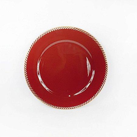 Souplast de Polietileno - Vermelho/ Borda Dourada