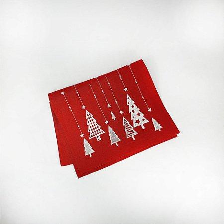 Trilho de Mesa Natalino - Vermelho/Árvores - 175cm x 35cm