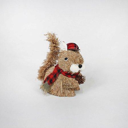 Esquilo Decorativo Natalino - Palha