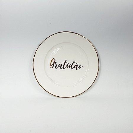 Prato Porcelana - Gratidão - Branco/Dourado -19cm