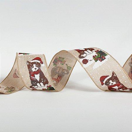 Rolo de Fita Aramada - Gatinho Natalino - 6,3cm x 9m