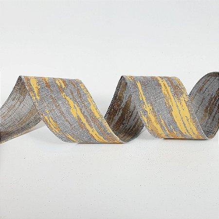 Rolo de Fita Aramada - Mesclada Cinza - 6,3cm x 9m