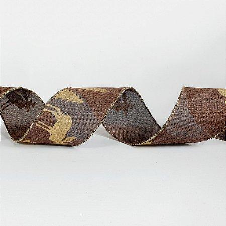 Rolo de Fita Aramada - Marrom/Dourado - 6,3cm x 9m