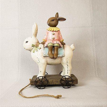 Coelha de resina decorativa - 28cm