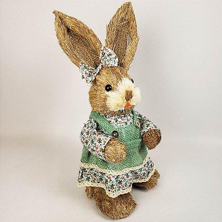 Coelha rústica floral verde 40cm