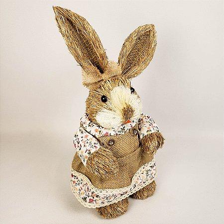 Coelha rústica floral branco 40cm