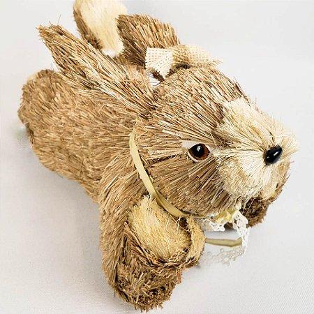 Coelha rústica deitada 28cm