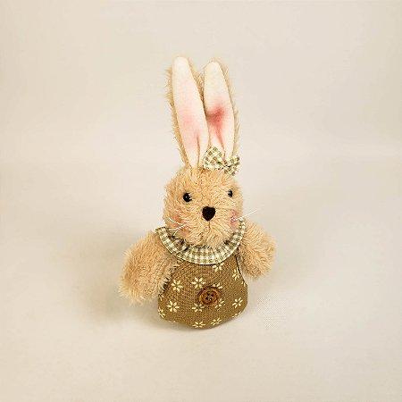 Coelha pingente bege florido 18cm