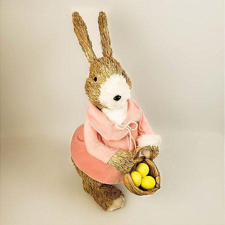 Coelha rústica de casaco rosa 43cm