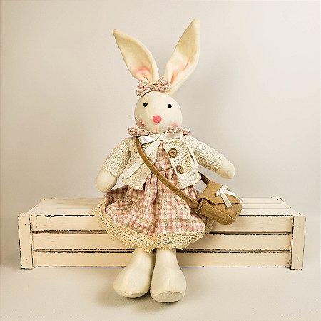 Coelha de pano c/ casaco bege 35cm