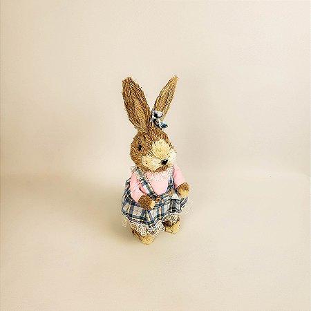 Coelha rústica, vestido xadrez rosa e azul 35 cm