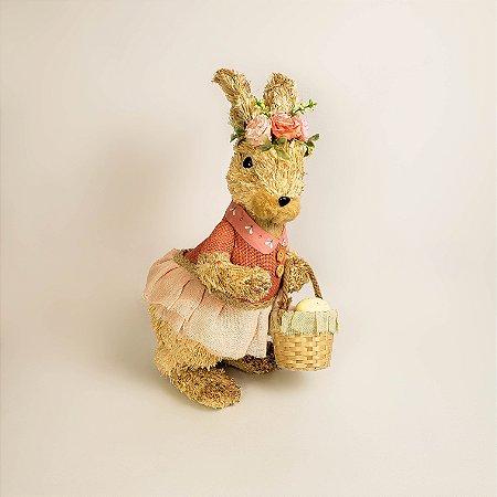 Coelha rústica carregando cesta com ovos 40cm
