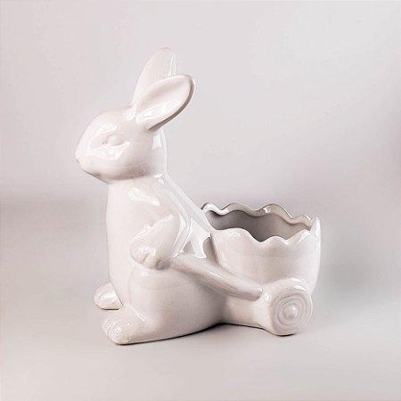 Porta arranjo coelho branco 17cm