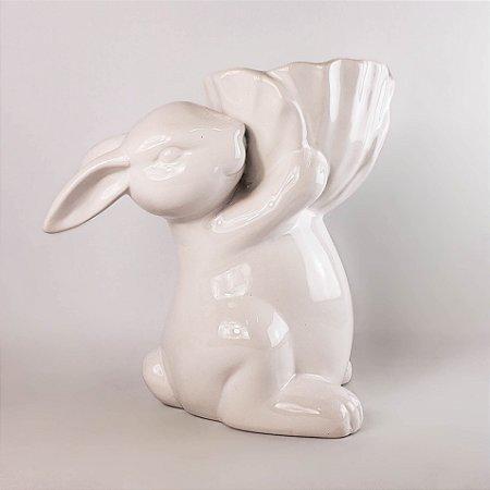 Porta arranjo coelho branco 21cm