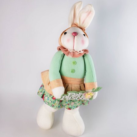 Coelha de pano c/ roupa verde e salmão 40cm