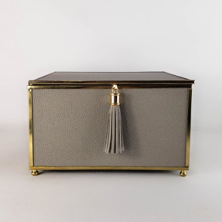 Porta-jóias - Corino e metais - 20cm