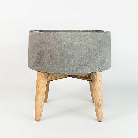 Cachepot de Concreto c/ Pé de Madeira - 14cm