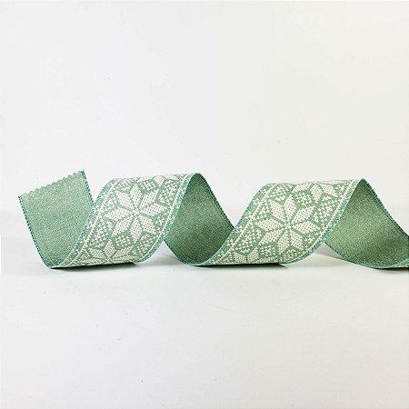 Fita Aramada Verde Ponto Cruz - 9mx6cm