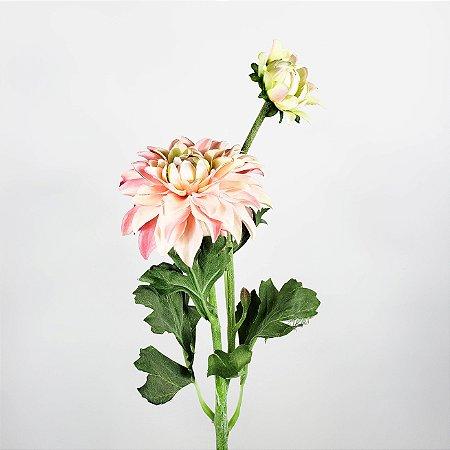 Haste de Dália Branco c/ Rosa - 56cm