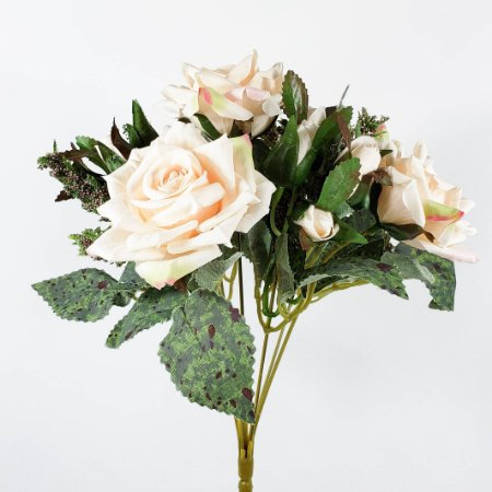 Buquê Rosa Diamante c/ Botões Champanhe - 31cm