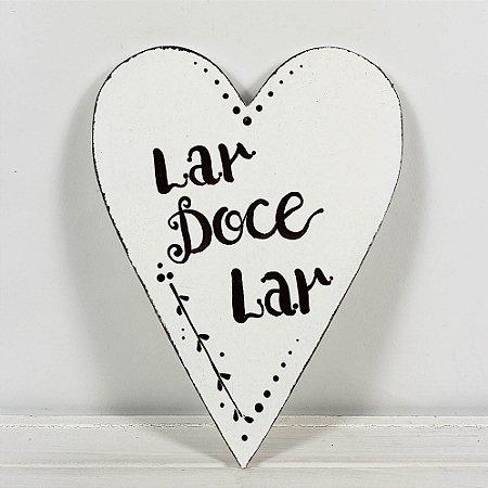 Placa de Madeira Coração Provençal Branca - Lar Doce Lar