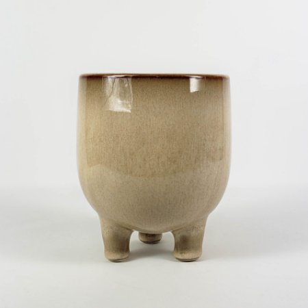 Vaso de Cerâmica Bege c/ Pé - 12,5cm