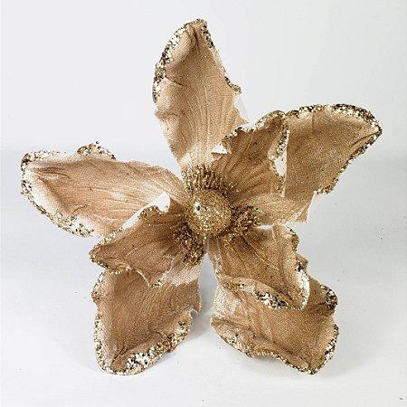 Flor Natalina Magnólia Gold - 19cm